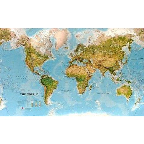 Zeměpisná mapa světa, 197 x 120 cm