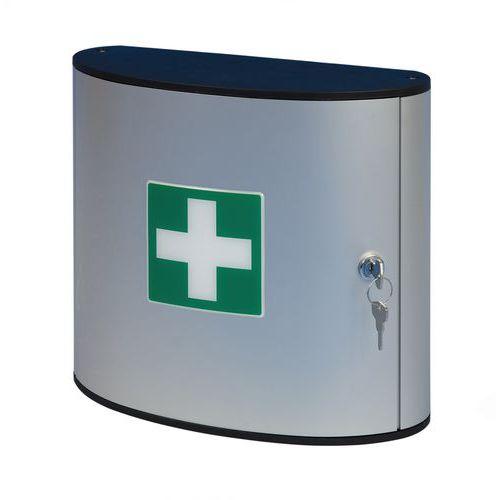 Kovová nástěnná lékárnička, uzamykatelná, 28 x 30,2 x 11,8 cm
