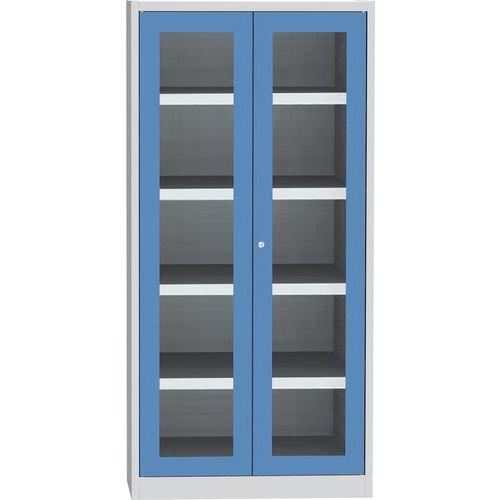 Skříň na kapaliny se skleněnými dveřmi, modro/šedá, 1950x950x500