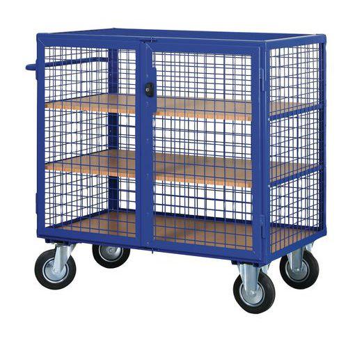Uzavíratelný skříňový vozík s madlem a mřížovými stěnami, do 600