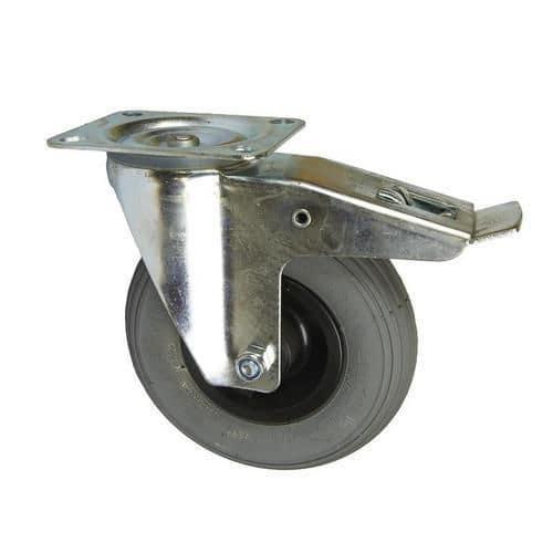 Bantamové kolo s přírubou, průměr 200 mm, otočné s brzdou, valiv