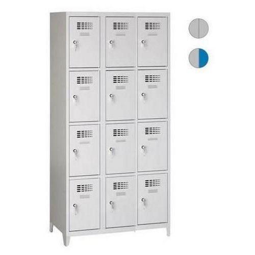 Svařované šatní skříně Eric odlehčené, 12 boxů, cylindrický zámek