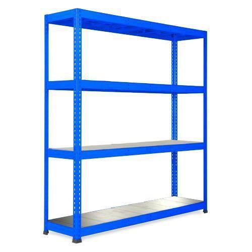 Kovový regál Rapid 1, 198 x 183 x 45,5 cm, 440 kg/police, 4 ocelové panely, modrý