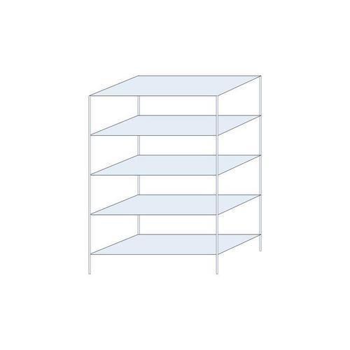 Kovový regál, základní, 200 x 130 x 60 cm, 1 300 kg, 5 polic, stříbrný