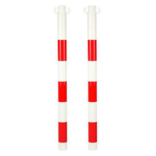 Pevné kovové zahrazovací sloupky Kit, výška 95 cm, 2 ks, bílé/červené - Prodloužená záruka na 10 let