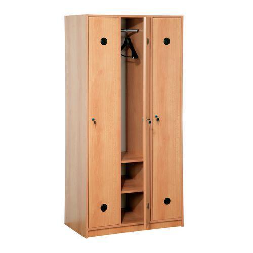 Dřevěná šatní skříň Jacob, 3 oddíly, buk