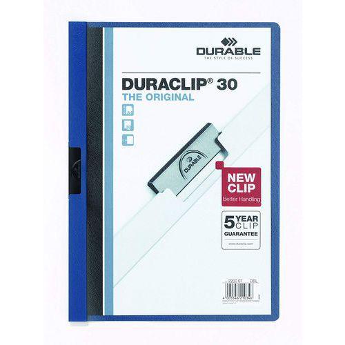Rychlovázací desky DuraClip, 20 ks, kapacita 30 listů, modré