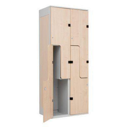 Šatní skříň William s dřevěnými dveřmi, 4 boxy, šedá/javor