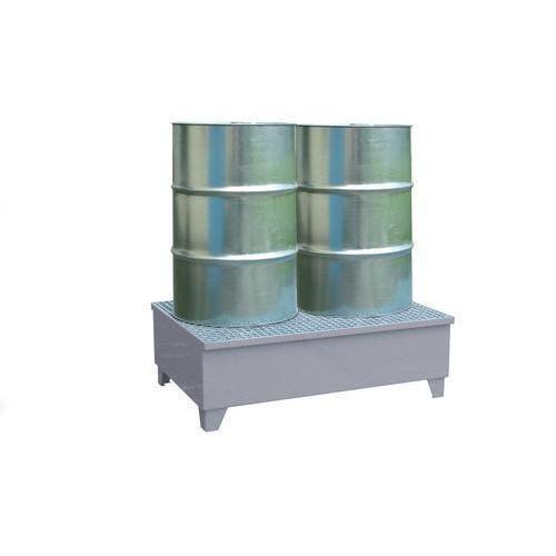 Kovová záchytná vana s roštem, integrované nohy, pro 2 sudy, pozink