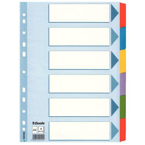 Papírové rozdružovače, 6 oddílů
