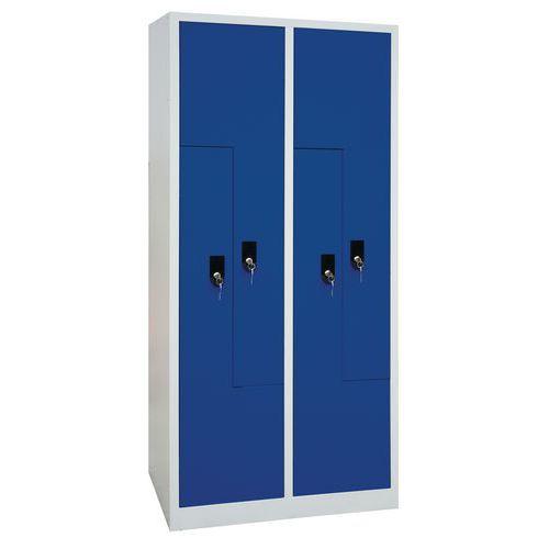 Svařovaná šatní skříň Carl, dveře Z, 4 oddíly, cylindrický zámek
