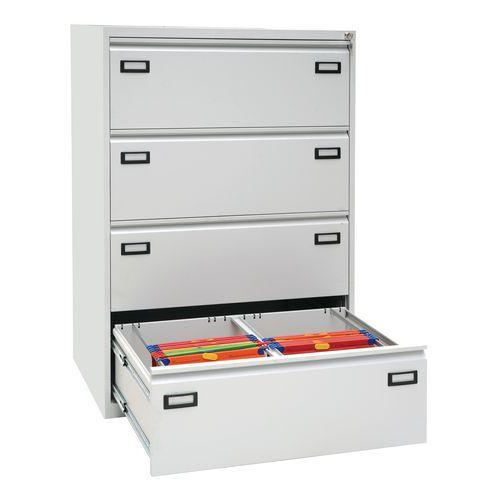 Dvouřadá kovová kartotéka A4 Ribble, 4 zásuvky, světle šedá - Prodloužená záruka na 10 let