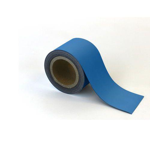 Magnetická páska na regály Manutan, 10 m, modrá, šířka 90 mm