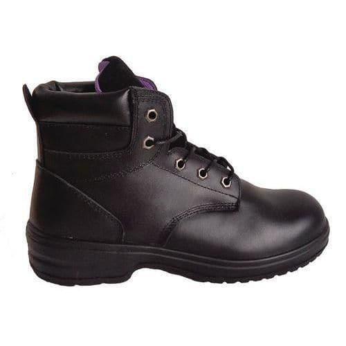 Pracovní koženkové kotníkové boty Manutan s ocelovou špicí, dámské, černé, vel. 37