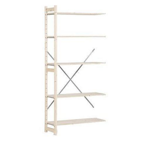 Dřevěné regály, přístavbový, 209 x 97 x 40 cm, 5 polic, smrk