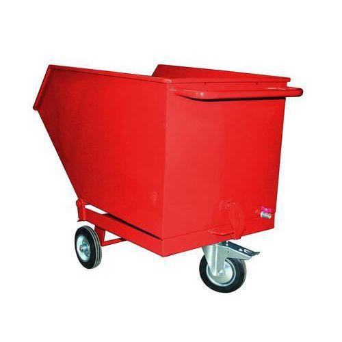 Pojízdný výklopný kontejner se sítem a výpustným kohoutem, objem 400 l, červený