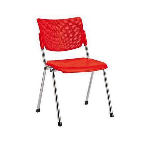 Plastová jídelní židle MIA Chrom, červená