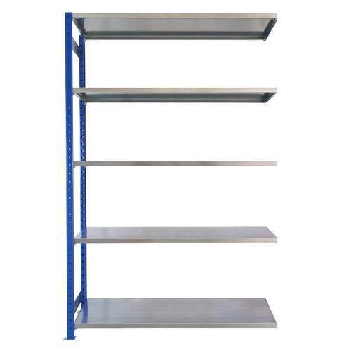 Kovový regál, přístavbový, 200 x 130 x 60 cm, 2 000 kg, 5 polic, modrý