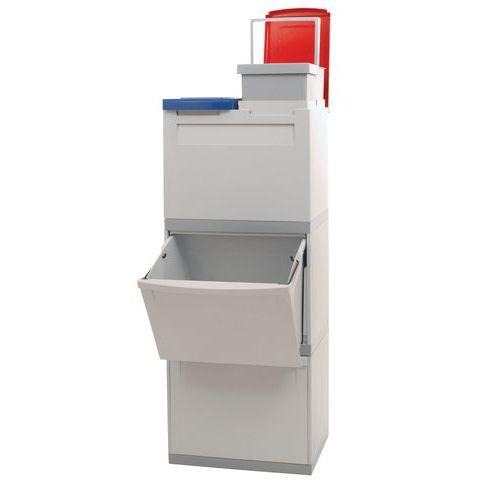 Plastový odpadkový koš EKOMODUL na tříděný odpad, objem 2 x 30 l + 2 x 15 l - Prodloužená záruka na 10 let