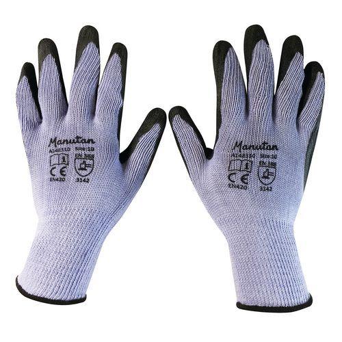Nylonové rukavice Manutan polomáčené v latexu, šedé