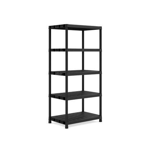 Plastový regál, základní, 187 x 90 x 60 cm, 5 polic, černý