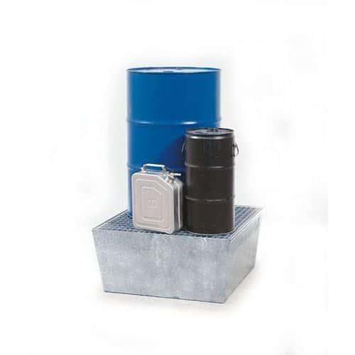 Ocelová záchytná vana s roštem, pro 1 sud, pozink