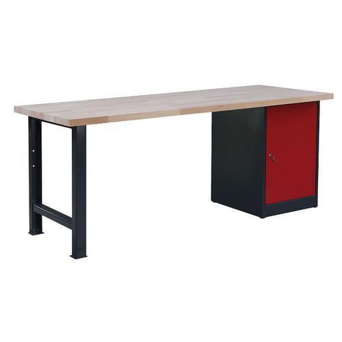 Dílenský stůl Weld se skříňkou 80 cm, 84 x 200 x 80 cm, šedý - Prodloužená záruka na 10 let