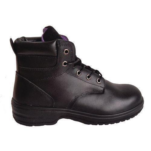 Pracovní koženkové kotníkové boty Manutan s ocelovou špicí, dámské, černé, vel. 38