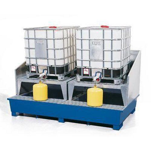 Ocelová záchytná vana pod IBC kontejnery, pro 2 kontejnery - Prodloužená záruka na 10 let