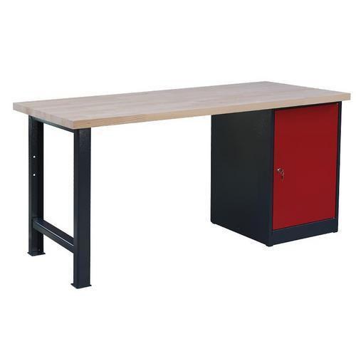 Dílenský stůl Weld se skříňkou 80 cm, 84 x 170 x 80 cm, antracit - Prodloužená záruka na 10 let