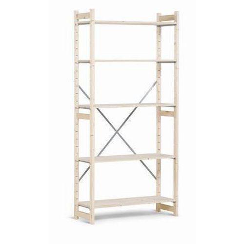 Dřevěné regály, základní, 209 x 97 x 50 cm, 5 polic, smrk