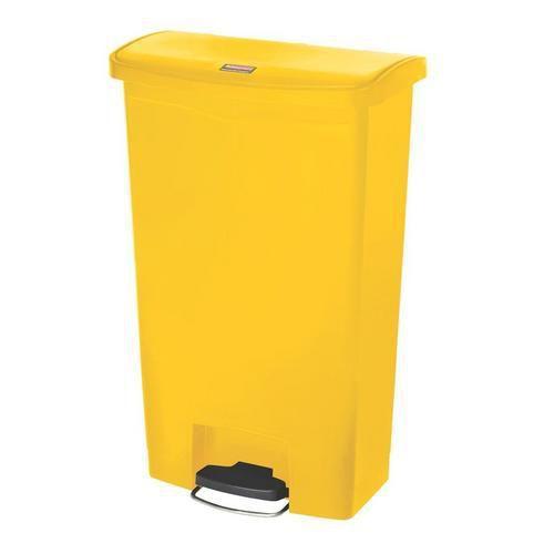 Plastový odpadkový koš Rubbermaid Front Step, objem 68 l, žlutý
