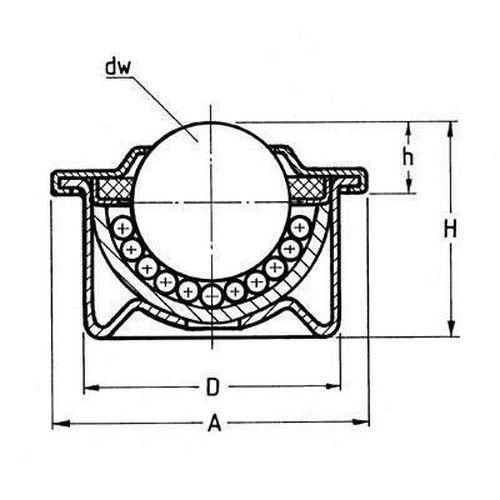 Kuličková kladka s přírubou pro nasouvání, průměr 30 mm