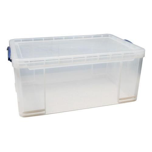 Plastový úložný box s víkem na klip, průhledný, 64 l