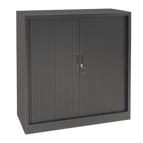 Kovová spisová skříň s roletou, 2 police, 105 x 100 x 45,7 cm, antracit