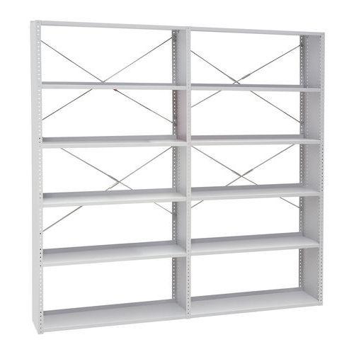 Kovové regály, základní, 198 x 100 x 30 - 40 cm, 5 polic, šedé