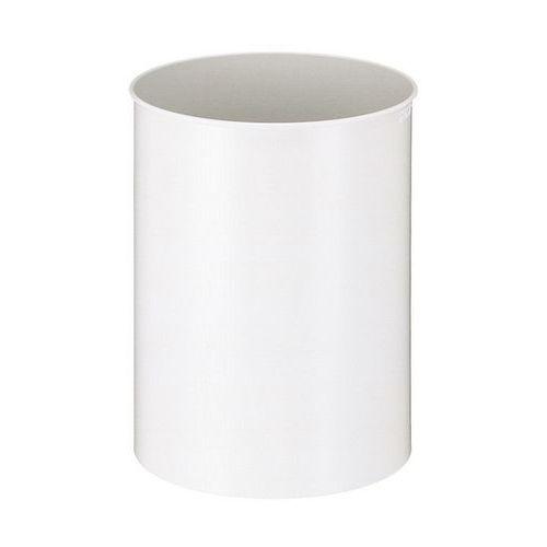 Kovový odpadkový koš Tube, objem 30 l, bílý