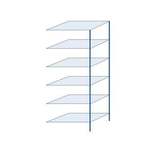Kovový regál, přístavbový, 250 x 100 x 60 cm, 2 000 kg, 6 polic, modrý
