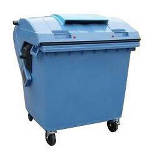 Plastová venkovní popelnice na tříděný odpad, objem 1 100 l, modrá