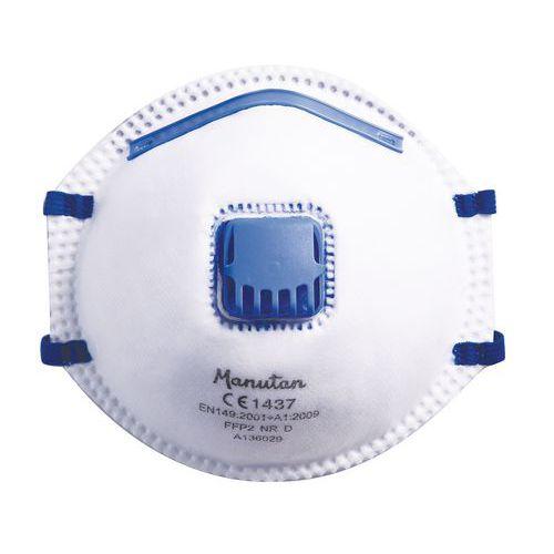 Respirátor Manutan s ventilkem, stupeň ochrany FFP2, 10 ks