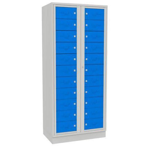 Svařovaná přihrádková skříň,<br>2 oddíly, cylindrický zámek, šedá/modrá