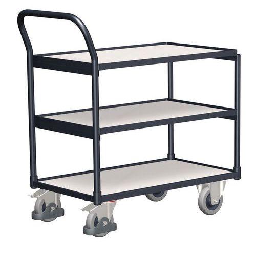 Antistatický policový vozík s madlem, do 250 kg, 3 police, 98 x