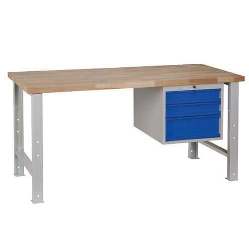 Dílenský stůl Weld se 3 zásuvkami, 84 x 170 x 68,5 cm, šedý - Prodloužená záruka na 10 let