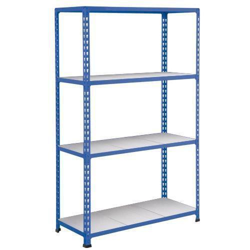 Kovový regál Rapid 2, 160 x 152,5 x 30,5 cm, 110 kg/police, 4 ocelové panely, modrý