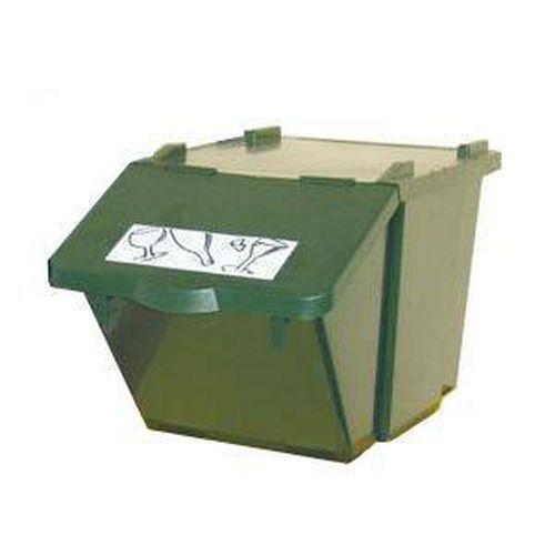 Plastový odpadkový koš na tříděný odpad, objem 45 l, zelený - Prodloužená záruka na 10 let