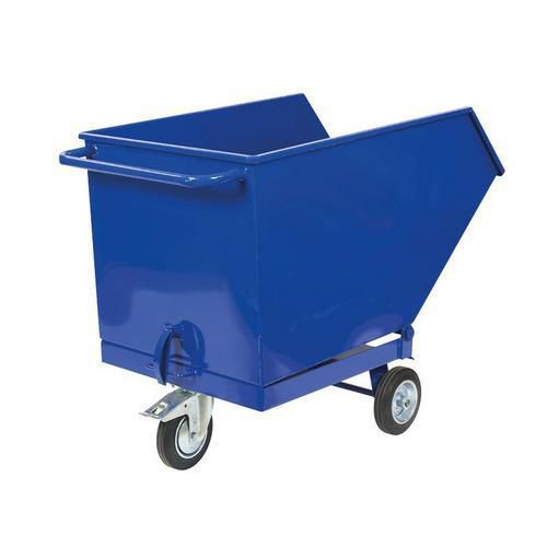 Pojízdný výklopný kontejner, objem 400 l, modrý