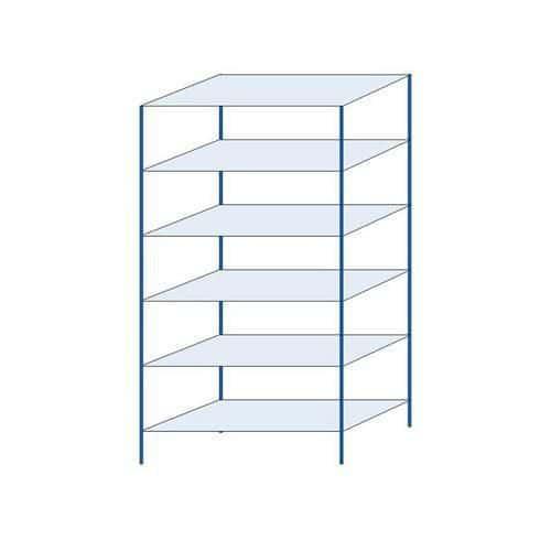 Kovový regál, základní, 250 x 130 x 60 cm, 2 000 kg, 6 polic, modrý