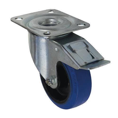 Gumové transportní kolo s přírubou, průměr 100 mm, otočné s brzdou, valivé ložisko