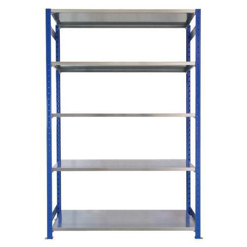 Kovový regál, základní, 200 x 130 x 50 cm, 2 000 kg, 5 polic, modrý