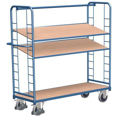 Vysoký policový vozík s madlem a šikmými policemi, do 400 kg, 3